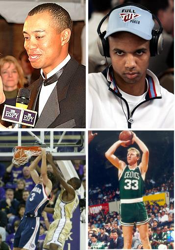 adam morrison larry bird phil ivey tiger woods
